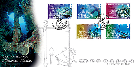 First Day Cover: The anchor, at the dive site known as Anchor Wall in Cayman Brac, lies in a coral ravine in 80ft of water. From its shape and date it is widely accepted that it was left behind by the HMS Sparrowhawk, which was one of the survey ships that did topographic mapping of the three islands during 1880-1881, which was published as a chart in 1882. The highest point of land on Little Cayman, at 40ft above sea level, is known as Sparrowhawk Hill. Co-incidentally, Blossom Village on Little Cayman is named after the hydrographic survey ship HMS Blossom which carried out the work around the islands in 1831. It is also believed that during the 1880 survey, Owen Island was named after the ship's chief surveyor, Richard Owen.